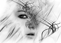 ... (Anka Galuza) Tags: life white black art love monochrome face look fashion modern digital for design nice eyes geometry sensual human passion belle feelings