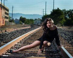 A Study Using Railroad Tracks As Leading Lines But A Pretty Girl Seems To Have Gotten In The Picture Somehow, Too (andy_57) Tags: railroad sexy julie legs tracks heels d800 minidress alienbees asianbeauty 105mmf2dc bassettstreet