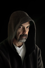 """Be afraid, be very afraid""... lol (Chas56) Tags: selfportrait canon dark hoodie scary glare sinister stare beafraidbeveryafraid canon7d"