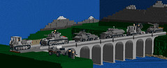 """Crossing the Rhine"" (Florida Shoooter) Tags: germany lego armor ww2 rhine ldd rso sdkfz251 panzeriii sdkfz10 schwimwagen"
