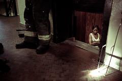 Broken Elevator (joshuazweinstein) Tags: new york city newyorkcity summer newyork building broken brooklyn apartment elevator heat fireman firemen weegee brokenelevator hotsummer