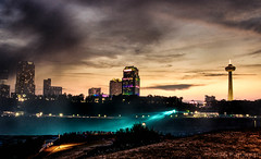 Fallscape At Dusk (spanjavan) Tags: sunset sky newyork skyline niagarafalls nikon unitedstates dusk illumination americanfalls skylontower goatisland d5100 rememberthatmomentlevel1 rememberthatmomentlevel2