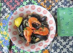 colorful dinner... (jolanda r (aka jojoro)) Tags: food fish color kitchen dinner lemon yum dish stock shrimp bowl mussel parsley seabass gamba bouillabaisse