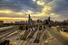 The Rail Yard [Explored] (Brian Koprowski) Tags: city railroad sunset sky chicago skyline architecture illinois downtown day pentax chi metra railyard hdr windycity leadinglines pentaxk5 briankoprowski bkoprowski