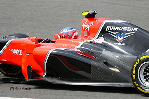 Charles Pic in his Marussia Racing F1 car during the 2012 British Grand Prix at Silverstone