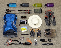 Half Dome Hike Gear (Have Fun SVO) Tags: california park ca camera camp storm black mountains set speed trekking back hiking packing sony gear hike sierra diamond via collection equipment pack cables national valley yosemite dome stuff permit half hikers harness whatsinmybag easyrider garmin keen ferrata 410 vario forerunner petzl leki deuter gopro