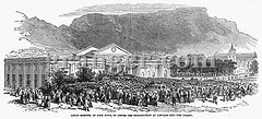 0037308 (Granger Historical Picture Archive) Tags: street city people dutch boer rally great meeting engraving middle convict protester colony colonialism colonist 1849 capecolony