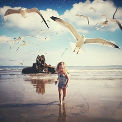 Kenzie run! (Dirk Dallas) Tags: cameraphone ocean california ca seagulls motion reflection art beach water girl birds composite square fun photography freedom photo kid sand riverside little cellphone pic run squareformat edit dirka iphone colab mobilephotography dirkdallas iphoneography iphoneographer instagram iphone4s nois7