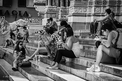 lunch on the cathedral steps (mfauscette) Tags: street travel blackandwhite genoa