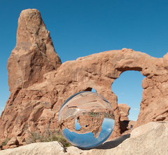 Turret Arch in Crysal Ball Upside Down (Adam's Attempt (at a good photo)) Tags: red sky nature utah nikon rocks upsidedown arches moab archesnationalpark crystalball d90 lr4