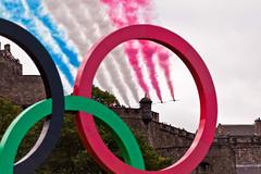 Red Arrows over Edinburgh Castle (chrisdonia) Tags: castle edinburgh rings 12 olympics flyover redarrows 2012
