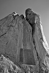 The Garden of the Gods (kurtrank) Tags: park blackandwhite mountain sign rock metal gardenofthegods spire huge tall grayscale