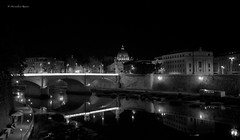 Rome by night (Massimiliano Ranauro) Tags: blackandwhite rome sanpietro biancoenero 2012 panasoniclumixdmcgf3 massimilianoranauro