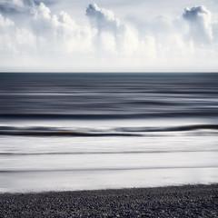 Sidmouth (Bruus UK) Tags: sidmouth devon shore coast sea beach waves sky clouds blur movement shingle pebbles square seascape horizon minimal