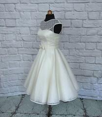 The Dotty Silk Dress (Ryley & Flynn Vintage) Tags: 1950s wedding dress tea length silk organza