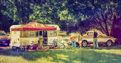 Shady Friends (Steve Walser) Tags: camp camping rv trailer trailers traveltrailer vintagetrailer recreation summer friends chevy chevytruck trucks