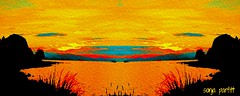 sunset painted (Sonja Parfitt) Tags: mirror manipulated colors bright sky water trees boats mountains