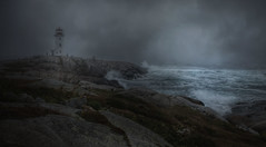 An Unforgiving Sea (Carolyn Little) Tags: novascotia texture peggyscove ocean fog mist rocks storm seascape water landscape sky green waves tourist lighthouse ie magicunicornverybest stealingshadows