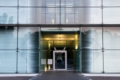 Enter-City ('Andy Crush) Tags: building architexture futuristic modern entrace door gateway fassade squares lines perspective glass hamburg berlinerbogen
