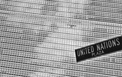 United Nations Plaza Street Sign (sunnie.we) Tags: streetsign unitednations hq new york bw building