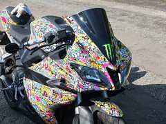 Sticker Bombed Graffiti Motorcycle (Alex Northey) Tags: sticker bomb bombed stickerbomb graffiti motorcycle yamaha bike motorbike
