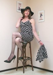 Polka dot dress and bolero. (sabine57) Tags: crossdressing transvestism crossdress crossdresser cd tgirl tranny transgender transvestite tv travestie drag pumps highheels tights pantyhose fishnetpantyhose fishnettights dress polkadotdress bolero hat