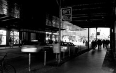 friedrichstrasse (Yaman Konuralp) Tags: diy journey travel nikon nikonf 35mm f2 film ais analog vintage grain blur noise iso agfa apx 100 dark contrast shadow street streetphotography urban city people nikkor nikonians nipponkogaku japan artistic rodinal hc110 r09 motion cars germany berlin bahnhof