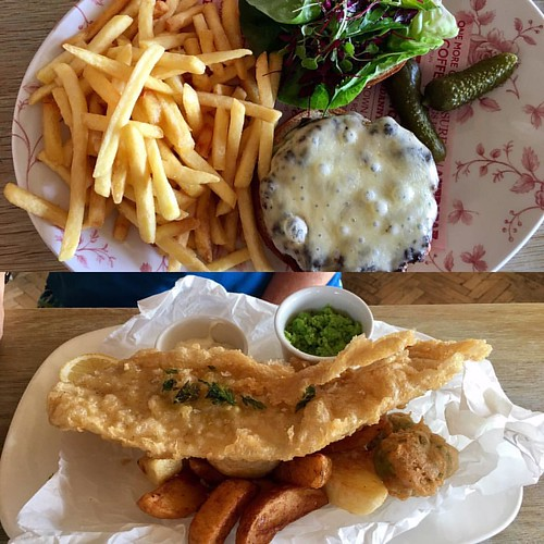 Burger & chips & fish & chips