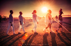 Abbey Road on the Playa - All Together Now... (Mike Filippoff) Tags: burningman2016 beatles abbeyroad walking playa group men sunrise lighthouse early sublime stagger fur white surreal fun challenge