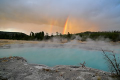 Nice way to end the day (brian.bemmels) Tags: yellowstone sapphirepool rainbow sunset geyserbasin landscape wideangle