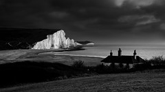 Seven Sisters waiting for the Snow B+W Version (JamboEastbourne) Tags: sea cliff white haven black sisters sussex chalk seven cuckmere