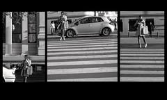 La chica del cruce (EriA-AirE) Tags: collage chica mosaico trfico urbano cibeles correos pasocebra mvilblancoynegro