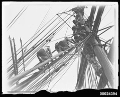 Preparing the sails on MAGDALENE VINNEN, March 1933