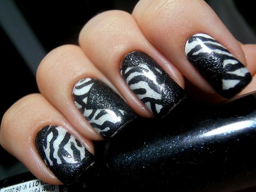 Patchwork Zebra Nail Design [Explore]