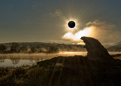 Eclipse - Not (Ian@NZFlickr) Tags: new old man rock photoshop eclipse dam central zealand alexandra nz otago false butchers