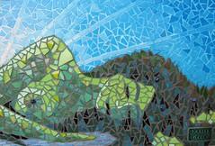 Mountain Goddess (detail) (Waschbear - Frances Green) Tags: blue sky woman mountain green glass lady nude landscape mosaic mixedmedia goddess hills mothernature greenmountains glassmosaic mosaicart piecemakers mountiangoddess greenhlls