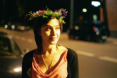 Midsummer Night (the aurelian) Tags: street flowers portrait woman film girl smile night analog 50mm nikon pretty midsummer bokeh grain poland polska wreath solstice tradition nikkor custom nikonfm2 midsommar fm2 noc lodz xtra rusaka rusalka fastfilm superia800 nikkor50mmf18d nikonfm2n fabryczna ksiymyn wianek stjohnsnight ld nocwitojaska stjohnsfeastday