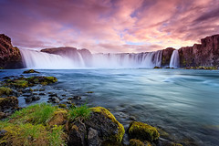 Waterfall of the Goi (Joe Azure) Tags: sky water clouds waterfall iceland godafoss ostrellina