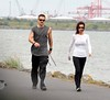 Colin Farrell and Claudine Farrell Colin Farrell dressed casually in Adidas tracksuit bottoms as he goes for a power walk with his sister along Sandymount Strand Dublin, Ireland