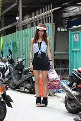 Ivy (The Style Collector) Tags: street girl fashion taiwan style taipei brownhat ximen denimvest shortblackdress fringedsandals whitelaceband