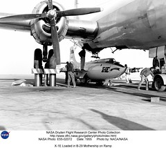 X-1E Loaded in B-29 Mothership on Ramp (NASA on The Commons) Tags: 1955 nasa boeing aeronautics b29 xplane soundbarrier naca speedofsound x1e flighttest bellaircraft boeingb29 nasadrydenflightresearchcenter experimentalflight bellx1e