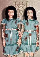 Redrum (Krysten_N) Tags: girls art tattoo illustration vintage movie blood twins drawing zombie gray tattoos horror murder shining redrum