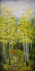 Autumn Aspens -oil