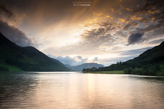 Fire in the sky. (DigitalAutomotive) Tags: lake district july 2016 buttermere cumbria crummock water stormy day wet weather clouds green trees tree line fence vista view lakes england english tourism visit visiting outdoor cloud sky hill landscape mountainside sunset fire evening visitcumbria