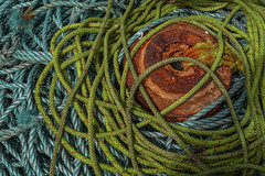 ropes and rust (lowooley.) Tags: ropes green blue coils rust eyemouth scotland