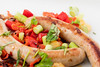 Bratwurst with spring onion, shallot, apricot, sweet pepper and parsley. (annick vanderschelden) Tags: bratwurst springonion shallot apricot sweetpepper parsley food warm dish cooked plate sausage cooking preparing hot
