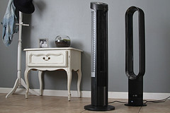 Dyson and Seville tower fans (yourbestdigs) Tags: fan tower stand floor flow rotation digital gray vent wind speed background switch simulate isolated electric remote white summer vertical circulation cool control infrared breeze button