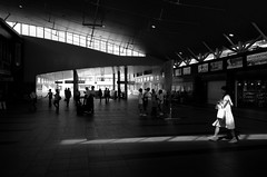 Day 229/366 : Morning Light (hidesax) Tags: 229366 morninglight station sun light woman passengers pedestrian deck ageo saitama japan hidesax leica x vario 366project2016 366project 365project