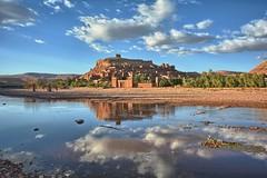 Ait Ben Haddou, Morocco (ott.geoffrey) Tags: aitbenhaddou morocco kasbah water clouds reflection orange blue