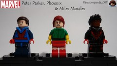 Peter Parker, Phoenix & Miles Morales (Random_Panda) Tags: lego fig figs figures figure minifig minifigs minifigure minifigures characters character marvel comics superhero superheroes hero heroes super comic book books peter parker phoenix xmen miles morales homecoming spider man spiderman